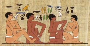 Reflexology shown in Egyptian hieroglyphics